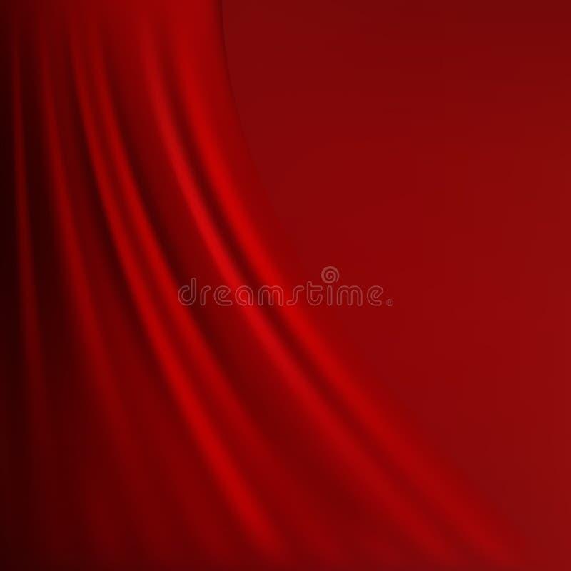Abstrakt röd bakgrundstorkduk eller vätskevågillustration av krabba veck av siden- textursatäng eller sammetmaterial stock illustrationer