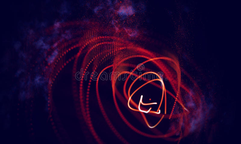 Abstrakt röd geometrisk bakgrund Anslutningsstruktur Innovativ forskning för vetenskaplig kemi Futuristisk teknologi HUD Element royaltyfri illustrationer