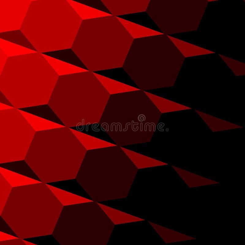 Abstrakt röd geometrisk textur Mörk skugga Teknologibakgrundsmodell Repeatable sexhörningsdesign Digital 3d bild vippning royaltyfri illustrationer