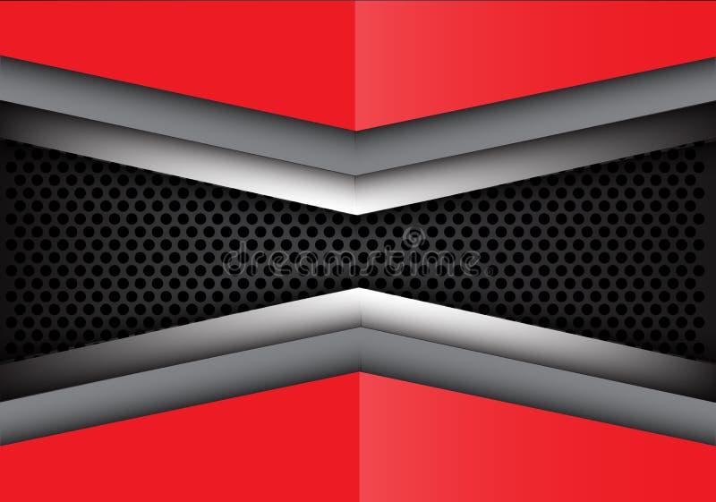 Abstrakt röd grå färgmetallöverlappning på vektor för textur för bakgrund för cirkelingreppsdesign modern vektor illustrationer