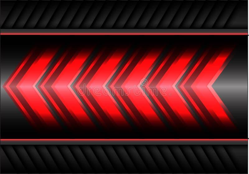 Abstrakt röd hastighet för pilljusmakt på vektor för bakgrund för grå färgmetalldesign modern futuristisk vektor illustrationer