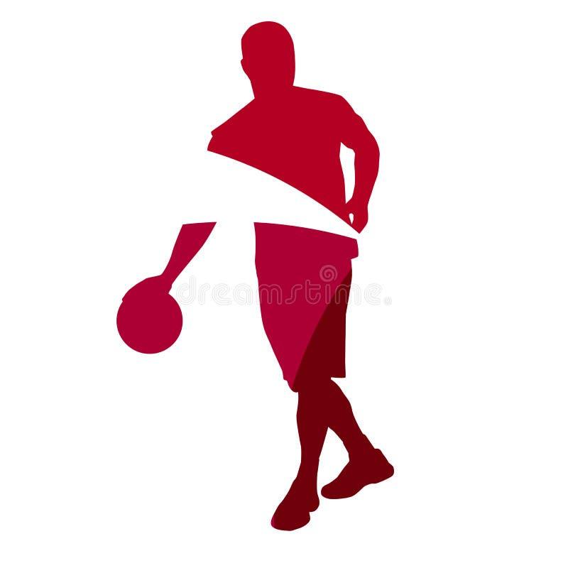 Abstrakt röd kontur för basketspelare royaltyfri illustrationer