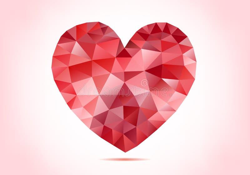 Abstrakt röd låg poly hjärta, vektor stock illustrationer