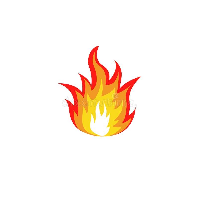 abstrakt röd och orange logo för färgbrandflamma på vit bakgrund Lägereldlogotyp Kryddigt matsymbol värme royaltyfri illustrationer
