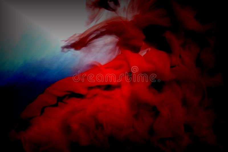 Abstrakt röd rök på svart bakgrund stock illustrationer