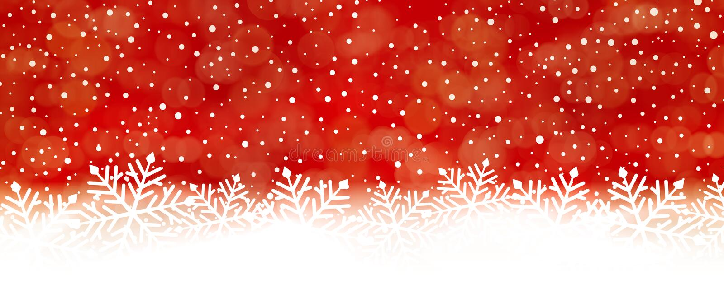 Abstrakt röd snöflingabakgrund, panorama stock illustrationer