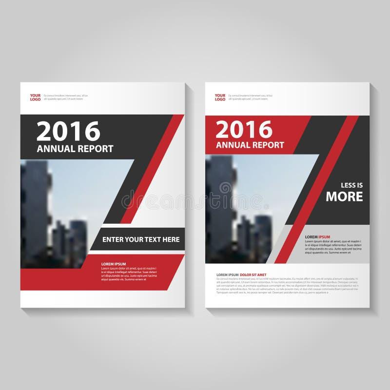 Abstrakt röd svart design för mall för reklamblad för årsrapportbroschyrbroschyr, bokomslagorienteringsdesign royaltyfri illustrationer