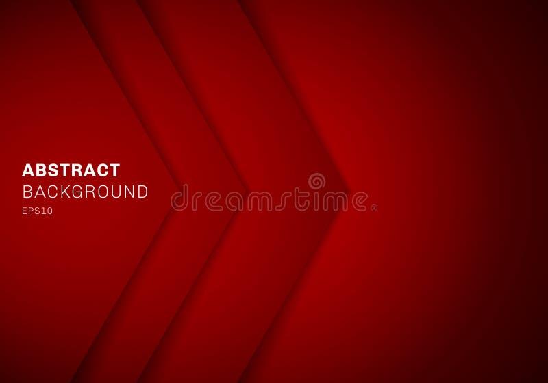 Abstrakt röd triangel för mall 3D med färg för lutning för överlappningspapperslager med kopieringsutrymmebakgrund royaltyfri illustrationer