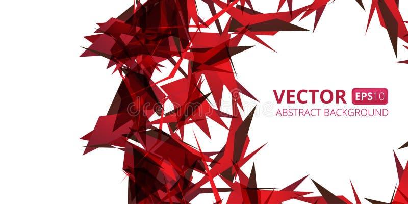 Abstrakt röd triangelvektorbakgrund på vit stock illustrationer