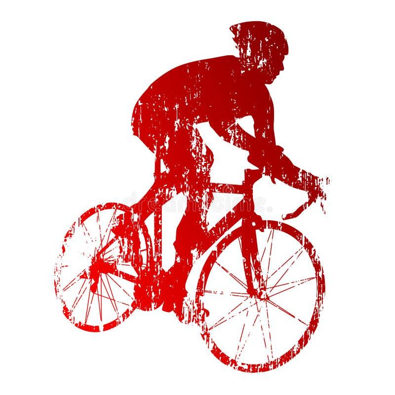 Abstrakt röd vägcyklist royaltyfri illustrationer