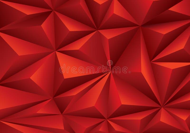 Abstrakt röd vektor för textur för bakgrund för triangelpolygonmodell stock illustrationer