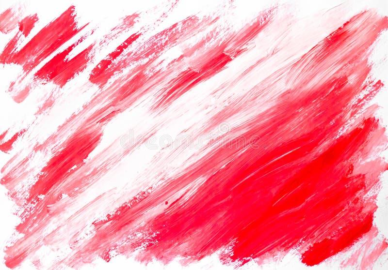 Abstrakt röd vit bakgrund målad vattenfärg vektor illustrationer