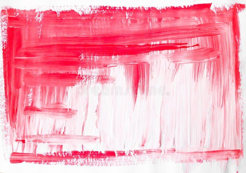 Abstrakt röd vit bakgrund målad vattenfärg stock illustrationer