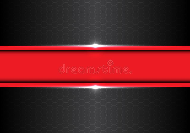 Abstrakt rött baner på mörker - vektor för bakgrund för grå design för metallsexhörningsingrepp modern futuristisk vektor illustrationer