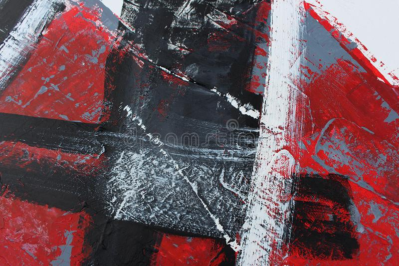 Abstrakt rött målad bakgrundshand Fragment av konstverk arkivbild