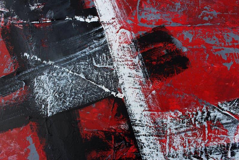 Abstrakt rött målad bakgrundshand Fragment av konstverk royaltyfria foton