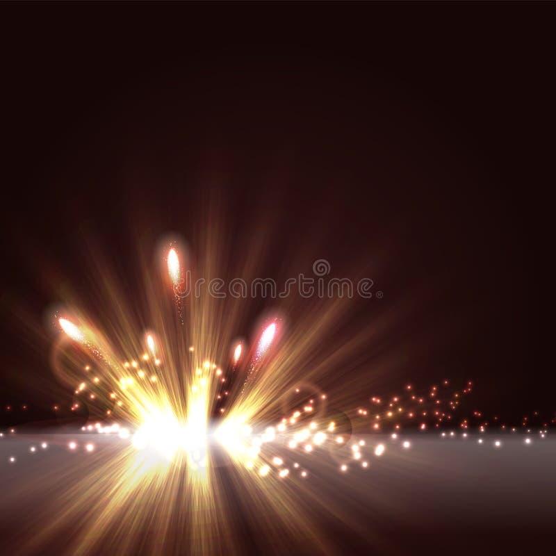 Abstrakt radiell ljus bakgrund med blänker och fyrverkerit stock illustrationer