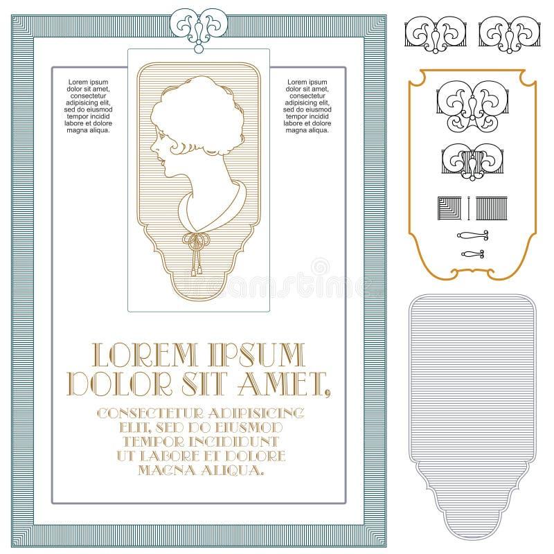 Abstrakt ram i tappningstil med extra designbeståndsdelar royaltyfri illustrationer