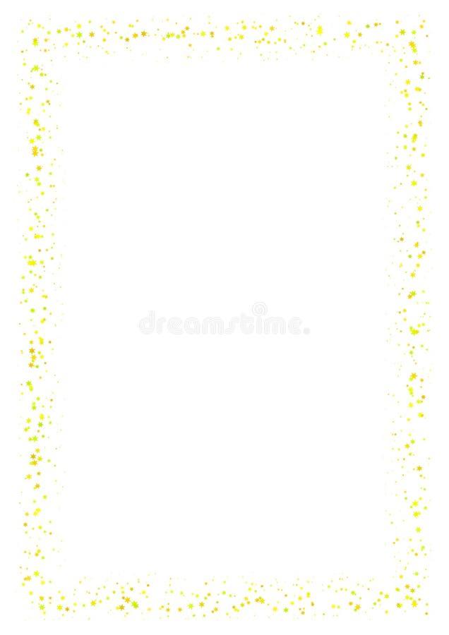 Abstrakt rama robić mały kolor żółty gra główna rolę na białym tle A4 papierowy rozmiar z lekką błyskotliwą gwiaździstą granicą royalty ilustracja