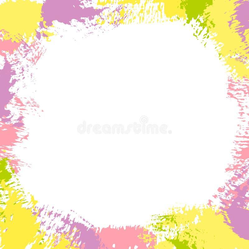 Abstrakt rama z farb plamami, mu?ni?cie muska i zaplamia royalty ilustracja