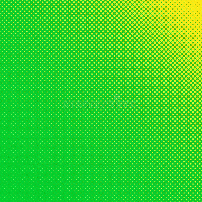 Abstrakt rastrerad bakgrund för prickmodell - vektordesign från gulingcirklar i varierande format på grön bakgrund vektor illustrationer