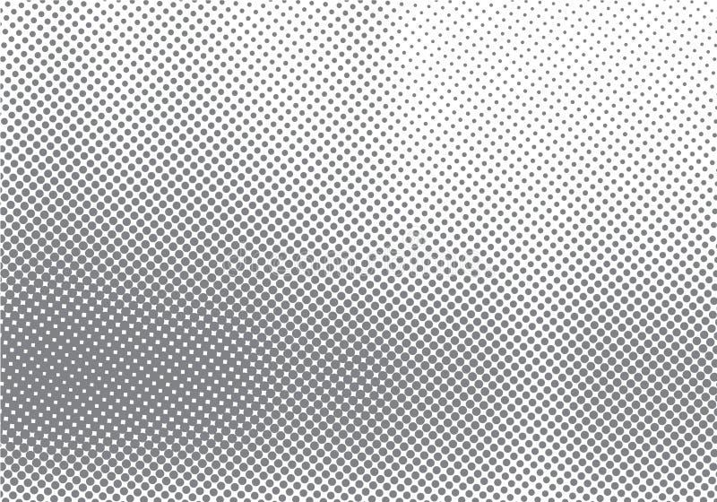 Abstrakt rastrerad rörelseeffekt med att blekna bakgrund och textur för prickgradering svartvit stock illustrationer