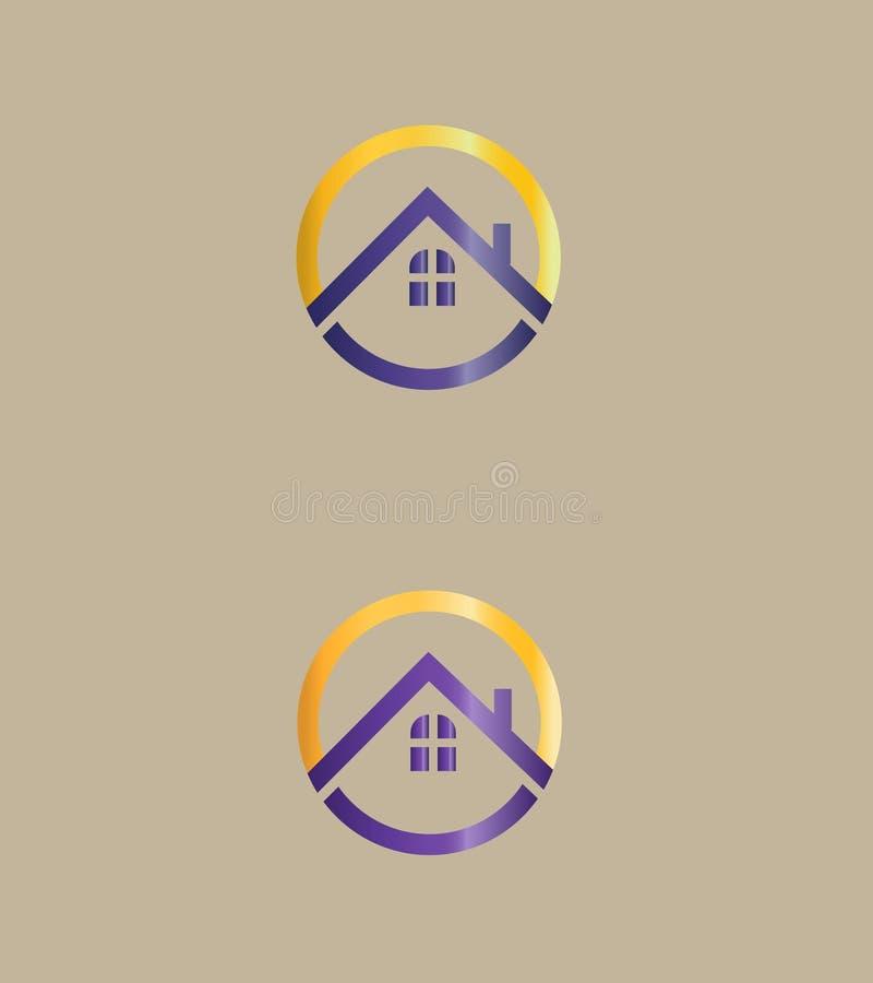 Abstrakt Real Estate logo, symbol Vektorlogodesign Taklogo royaltyfri illustrationer