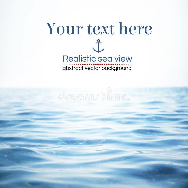 Abstrakt realistisk sikt för havsvatten också vektor för coreldrawillustration royaltyfri foto