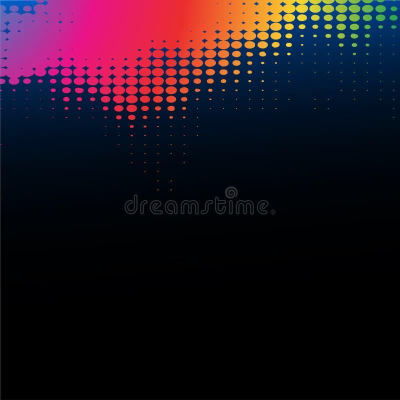 Abstrakt regnbåge på en svart bakgrund stock illustrationer