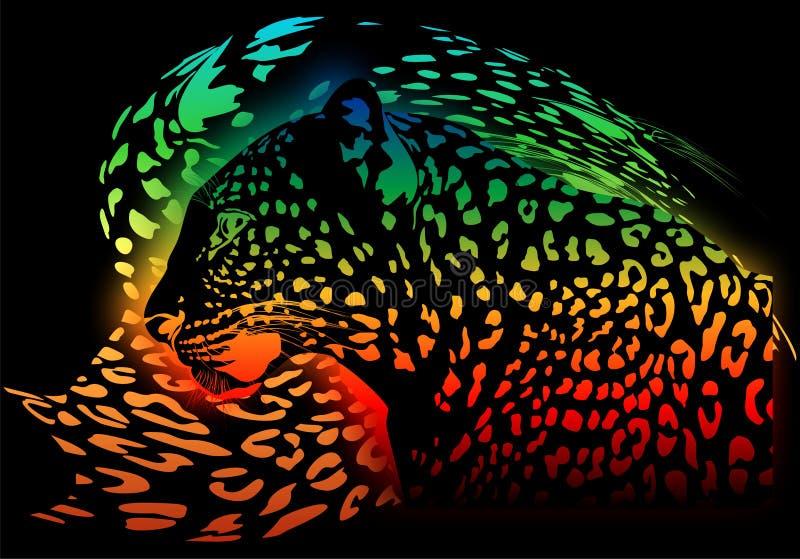 Abstrakt regnbågeleopard på en svart bakgrund stock illustrationer