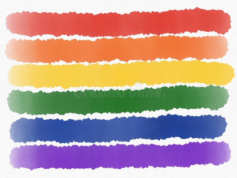 Abstrakt regnbågemålning isolerade LGBT-stolthetflagga på vit bakgrund för flygillustration för näbb dekorativ bild dess paper st stock illustrationer