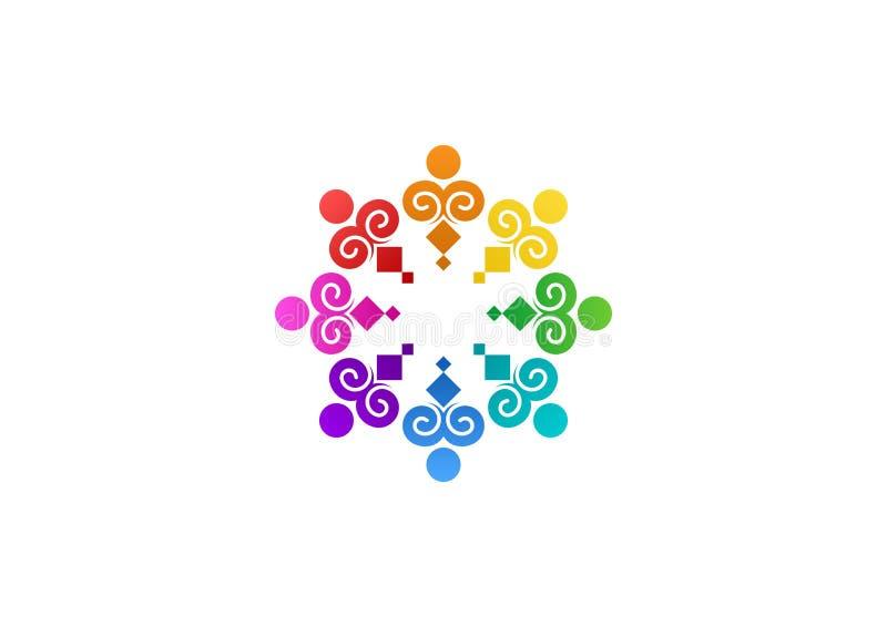 Abstrakt regnbågeteamwork, samkväm, logo, utbildning, design för vektor för unikt illustrationlag modern vektor illustrationer