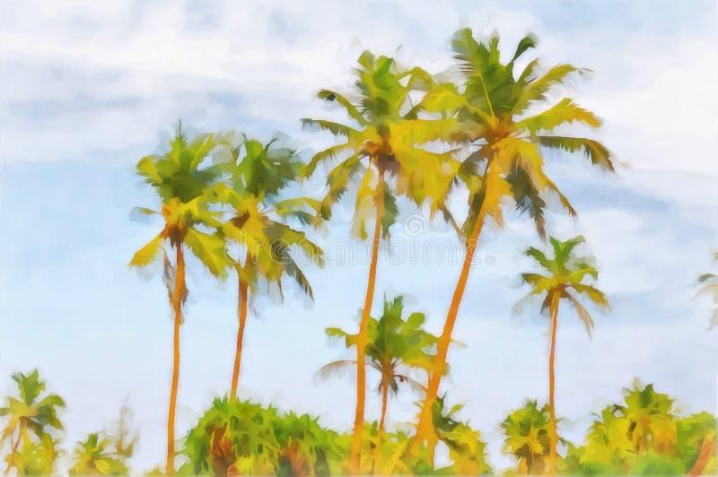 Abstrakt regnvattenfärgslandskap Slender palm mot blå himmel Digitalmålning stock illustrationer