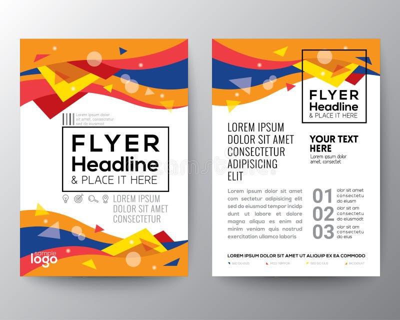 Abstrakt reklamblad för broschyr för affisch för form för våg för kurva för 80-talstiltriangel vektor illustrationer