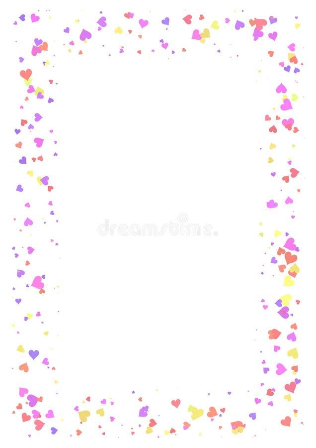 Abstrakt rektangelram som göras av färgrika hjärtor på vit bakgrund, papper A4 med förälskelsebegreppsgränsen, Valentine Day kort royaltyfri illustrationer