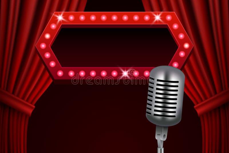 Abstrakt retro bakgrund med röda gardiner och tappningmikrofonen stock illustrationer