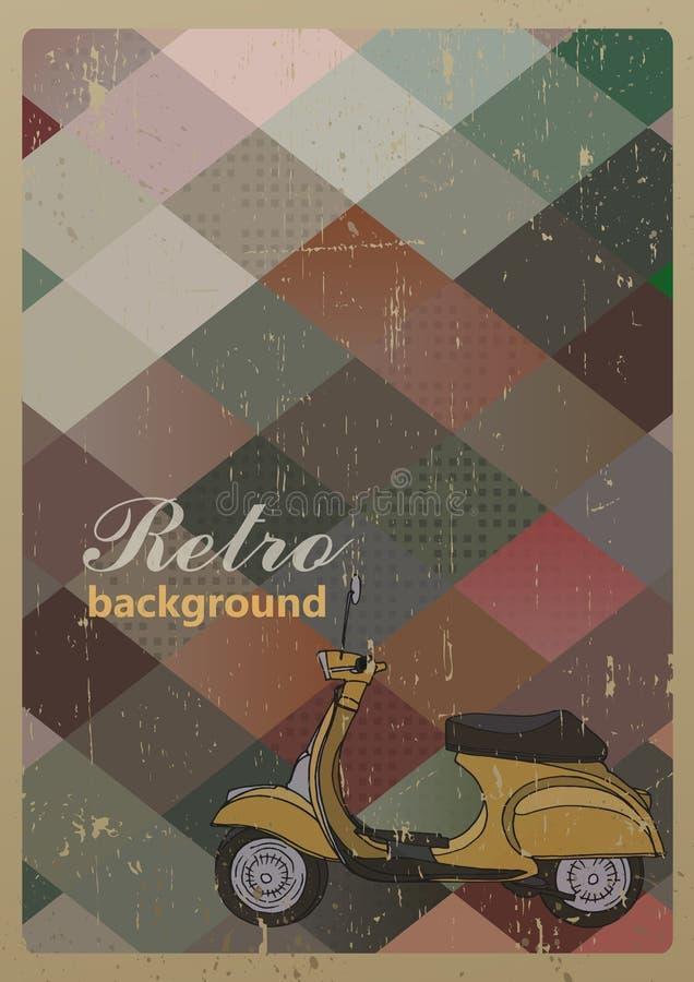 Abstrakt retro geometrisk bakgrund med en sparkcykel royaltyfri illustrationer