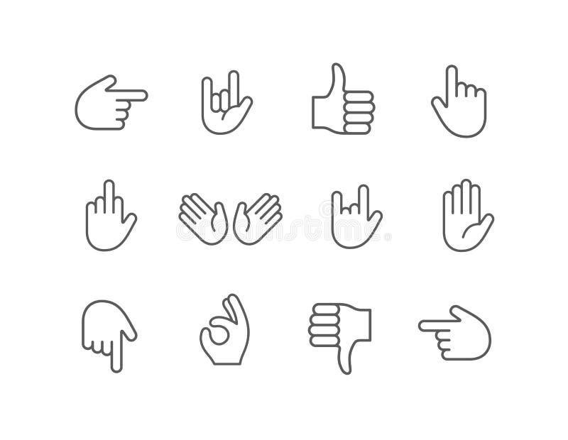 Abstrakt rolig linje uppsättning för symbol för handemojiemoticon royaltyfri illustrationer
