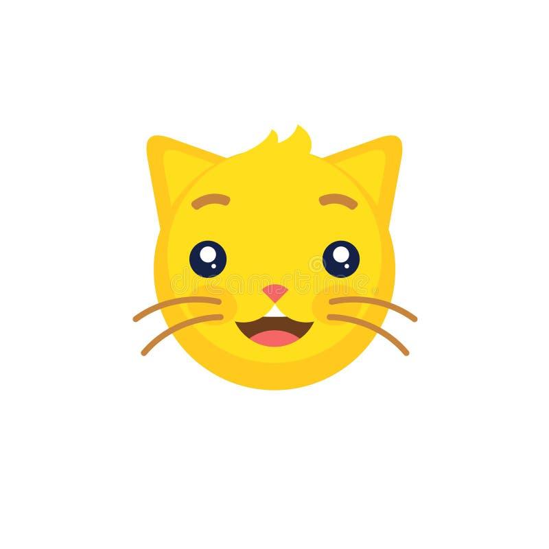 Abstrakt rolig plan symbol för framsida för katt för stilemojiemoticon vektor illustrationer