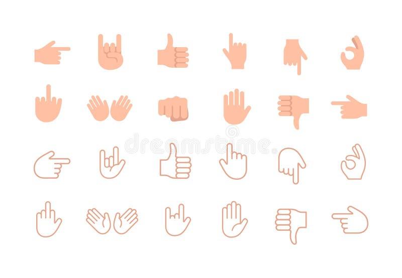Abstrakt rolig plan uppsättning för symbol för emoticon för stilhandemoji stock illustrationer
