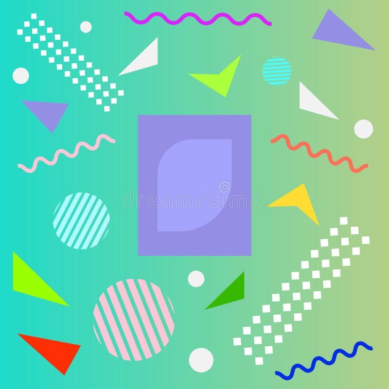 Abstrakt rolig textur f?r f?rgmodelltecknad film f?r geometrisk bakgrund f?r klotter Vektortrendform f?r design f?r broschyrr?kni stock illustrationer