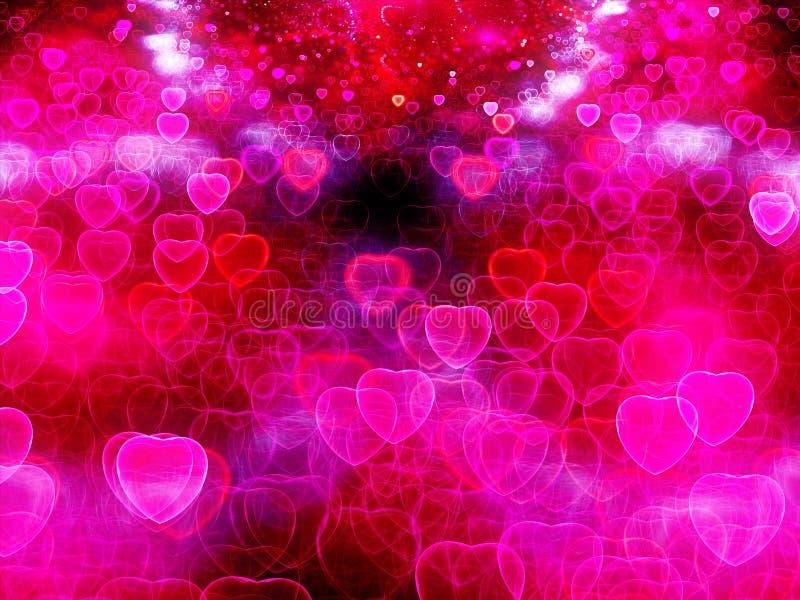 Abstrakt rosa bakgrund för valentinhjärtor stock illustrationer