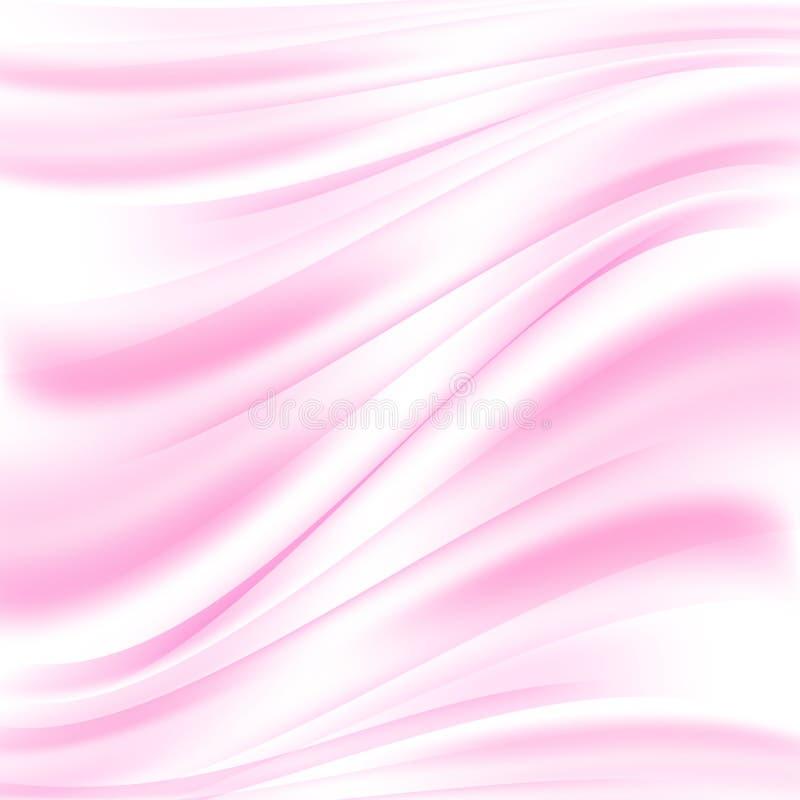 Abstrakt rosa bakgrund för vektor Mjuka rosa färgvågor Flödande vågor av tyg stock illustrationer