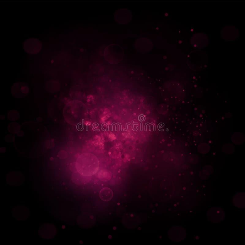 Abstrakt rosa bakgrund med effektbokeh och ljus i mitt vektor illustrationer