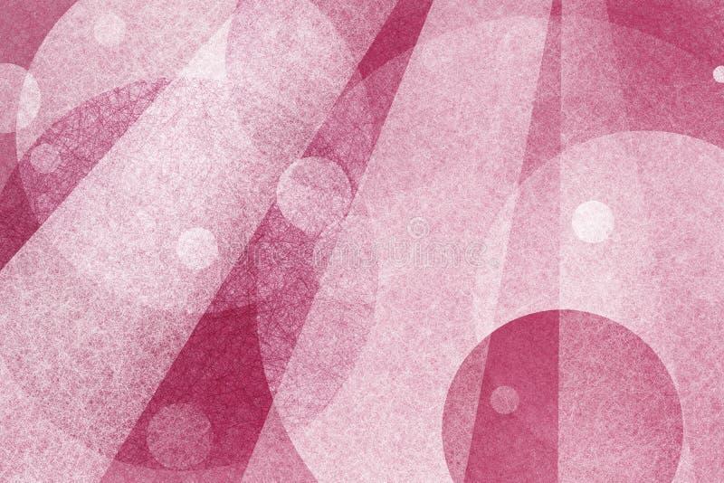 Abstrakt rosa bakgrund med lager av cirklar och ljusa strålar royaltyfri illustrationer