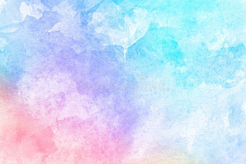 Abstrakt rosa blå röd gul grön violett orange purpurfärgad vattenfärg på vit bakgrund Färgen som plaskar i papperet Det är ett H royaltyfri bild