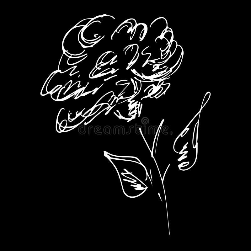 Abstrakt rosa blomma?versiktssymbol som isoleras p? svart bakgrund Hand tecknad vektorillustration Rosa logo stock illustrationer
