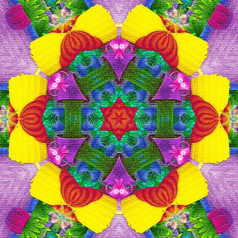 Abstrakt rosettkalejdoskop i briljantgräsplan, blått, neon, guling, rött och magentafärgat royaltyfri illustrationer