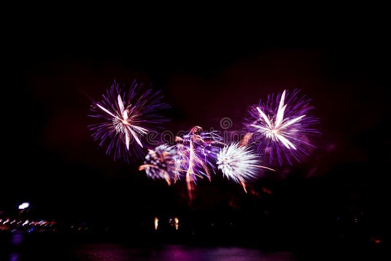Abstrakt, rozmyty, styl kolorowa fajerwerki w purpurowym brzmieniu fotografia fotografia royalty free