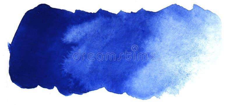 Abstrakt rubrikbakgrund En formlös avlång fläck av blå färg Lutning från mörker som ska tändas stock illustrationer